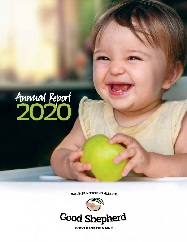 Cover of Good Shepherd Food Bank's 2020 Annual Report with small child and green apple