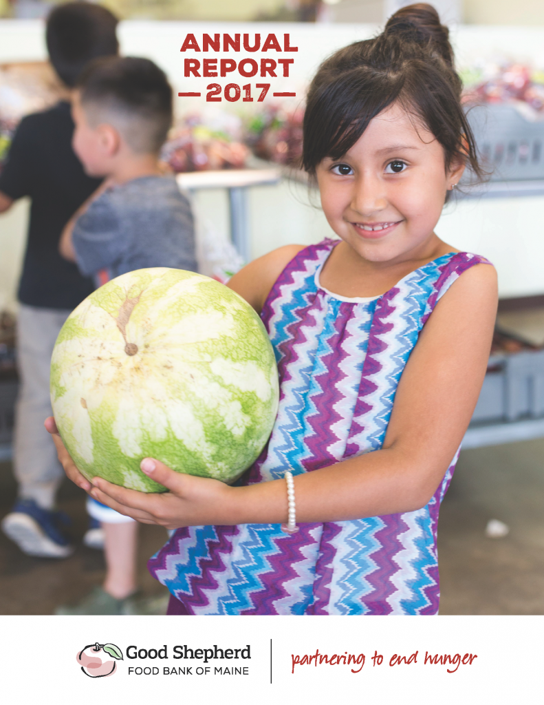 Cover of 2017 Good Shepherd Food Bank Annual Report with image of girl holding watermelon