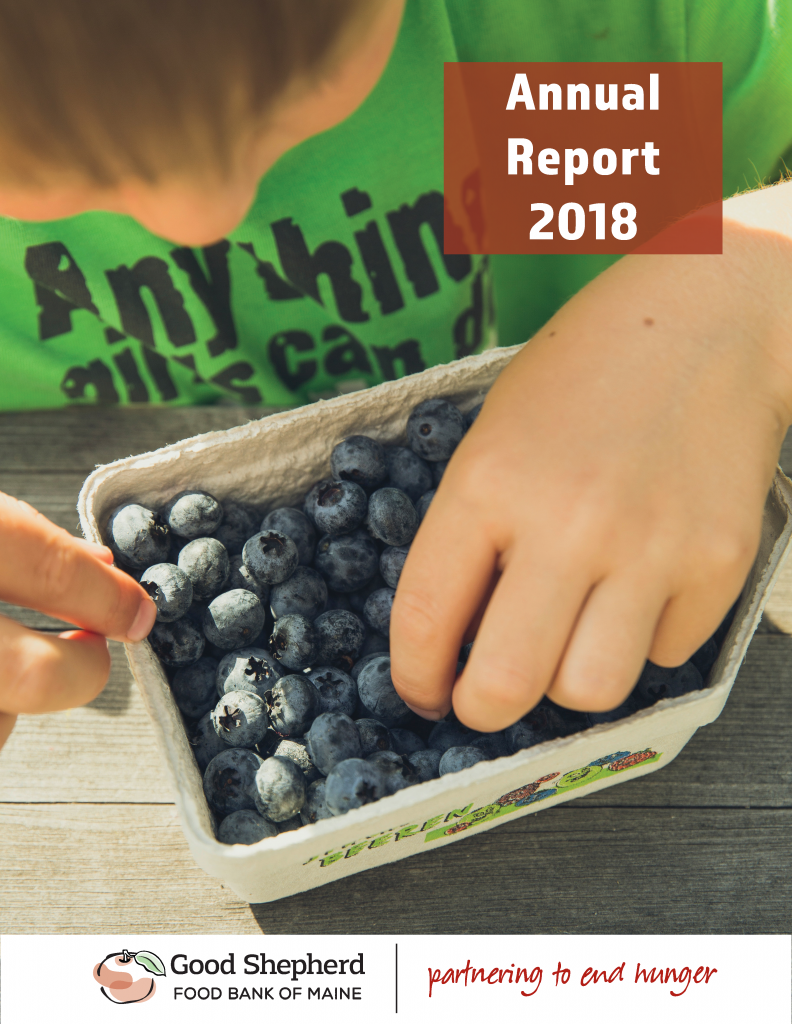 Good Shepherd Food Bank's 2018 Annual Report Cover Image with boy in green shirt with blueberries in pint container