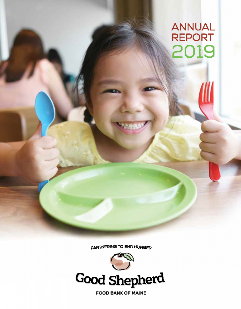 Good Shepherd Food Bank's 2019 Annual Report Cover image with girl at lunch table behind green plate and blue spoon and red fork