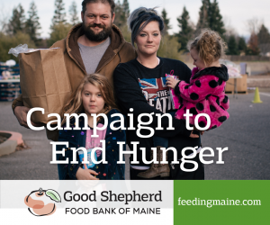 Family, father, mother, two young children, Campaign to End Hunger Good Shepherd Food Bank feedingmaine.org